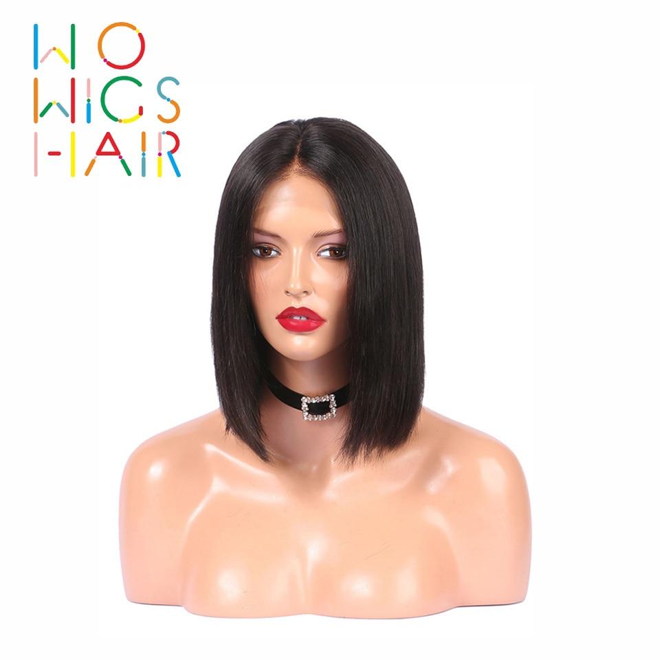 WoWigs Cabelo Perucas Cheias Do Laço Bob perucas de Cabelo Remy Cor Natural 100% Cabelo Humano