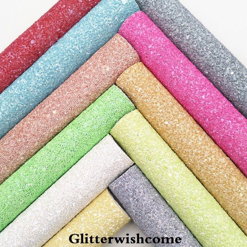 Glitterwishcome 21X29 см A4 Размеры синтетическая кожа, матовый Коренастый Блеск кожи, блеск ткани винил для Луки, GM038A