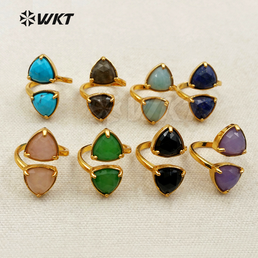 WT R293 New Stylish Sparkly Hot Sale Yu stone Ring With 24k Plated Fashion Double green