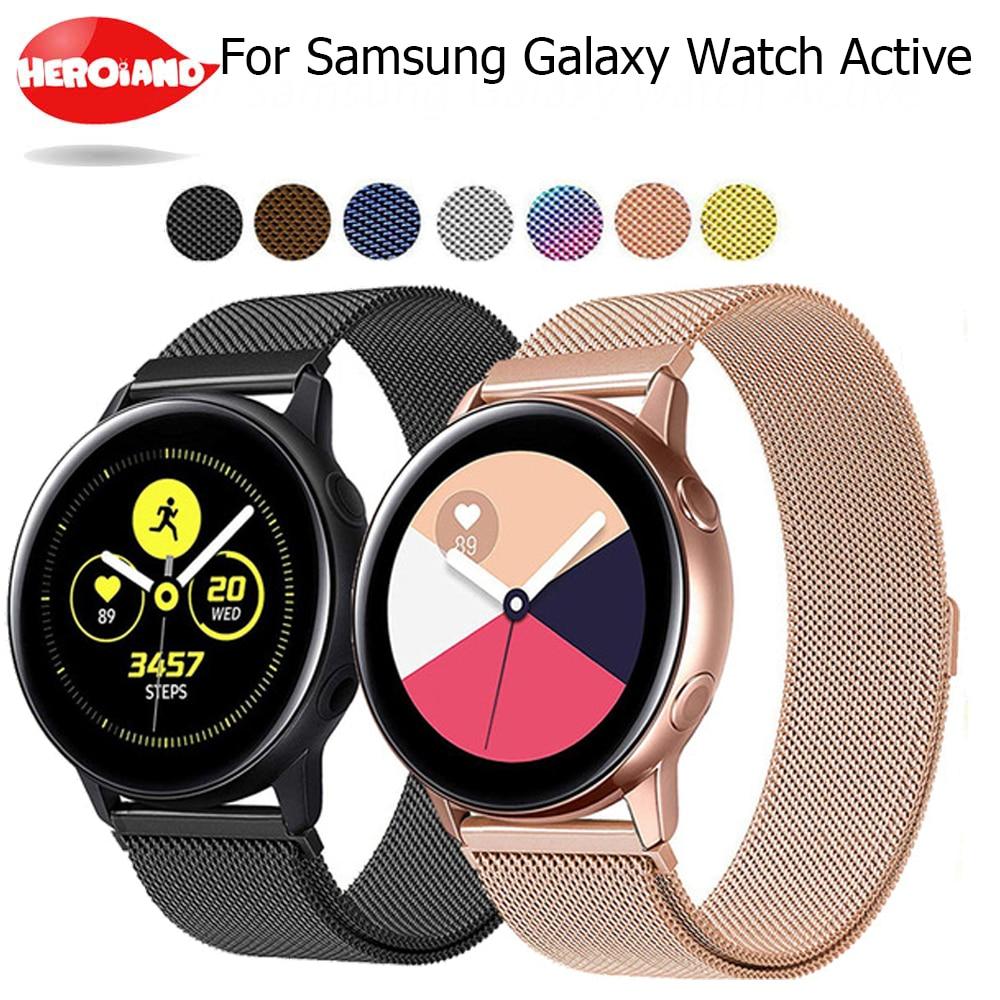 20 мм ширина браслет из нержавеющей стали для Samsung Galaxy часы 42 мм/часы Активный 40 мм Миланский Браслет металлический магнитный ремешок