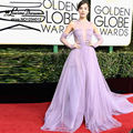 Pretty Lavender Celebrity Dresses Tulle Long Gowns At 74th Golden Globe Awards Sleeves Red Carpet Dress Split Prom Dress Vestido
