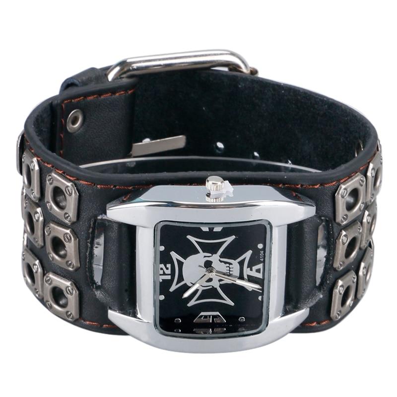 Relogio Masculino Watch Men Women Gothic Style Cool Metal Hollow Leather Strap Skull Quartz Watches Fashion Punk Trendy Cosplay