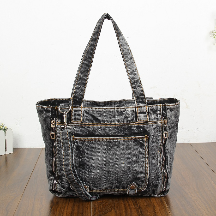 Casual Fashion Zipper Trendy Design Denim-wash Vintage Women Tote Bags Lady Handbags Jeans Denim Shoulder Bag Messenger bags chic women s bleach wash palazzo jeans