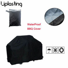 1pc Black Waterproof BBQ Grill Barbeque Protectiv Cover Outdoor Rain Grill Anti-Dust Protector For Gas Charcoal Barbecue Bag