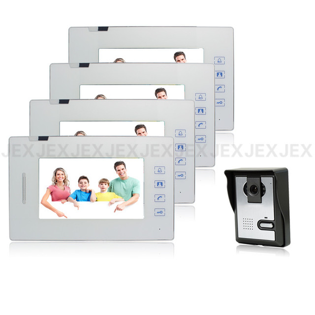 7 inch touch key video door phone speaker intercom system doorphone 1 camera 4 monitors video doorbell intercom