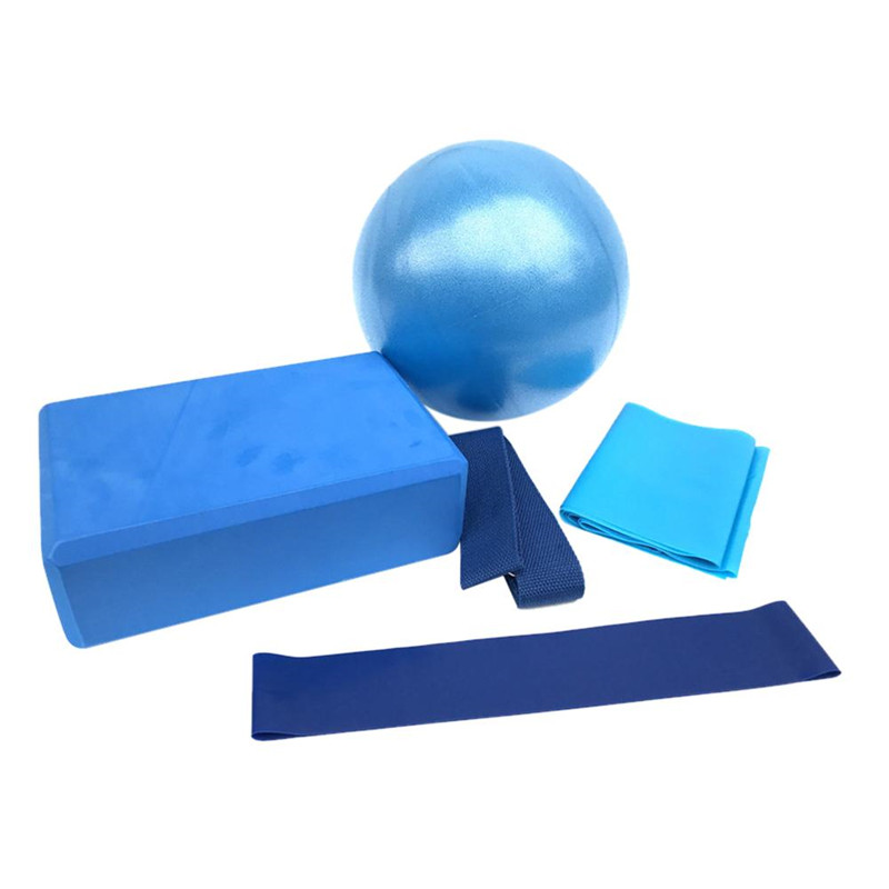 5PCS/Set Yoga Ball Yoga Tile Stretch Band Tension Band Latex Resistance Ring Yoga Fitness Equipment