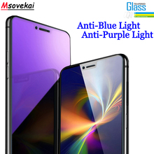 Anti Blue Purple Light Tempered Glass for OPPO F9 R17 R15 Pro A3s Realme 2 C1 K1 F5 A73 A83 Screen Protector Protective Film