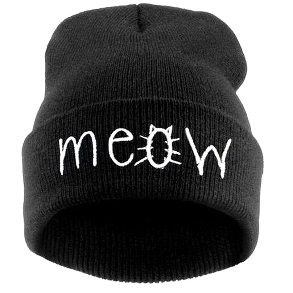 Fashion MEOW Cap Men Casual Hip-Hop Hats Knitted Wool Skullies Beanie Hat Warm Winter Hat for Women Drop Shipping leather skullies cap hats 5pcs lot 2278