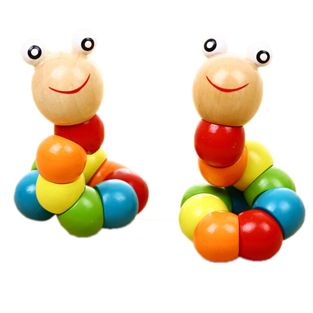 Puzzles Colorful Wooden Worm Kids Learning Educational Didactic Baby Development Toys Fingers Game for Children Montessori Gift image
