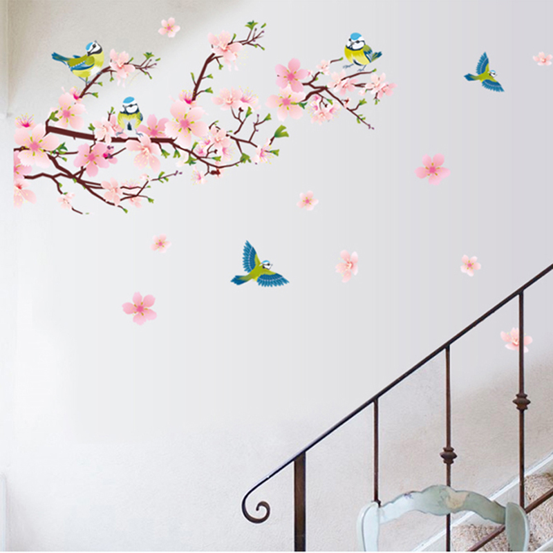 Hot sell Romantic Peach Blossom and Swallow Wall Sticker PVC Removable Room Decal Art DIY Home Decorpopular stickers