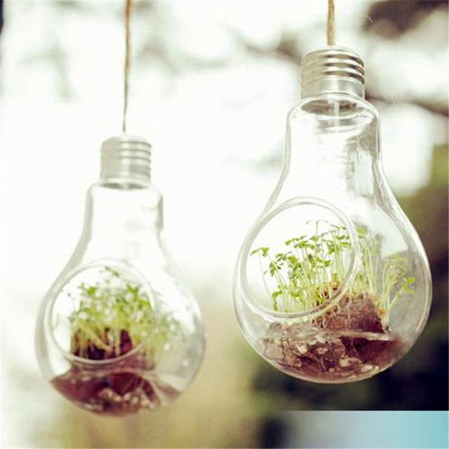 Top Transparent Ampoule Forme Vase En Verre Terrarium Suspendus Pot De  UZ84