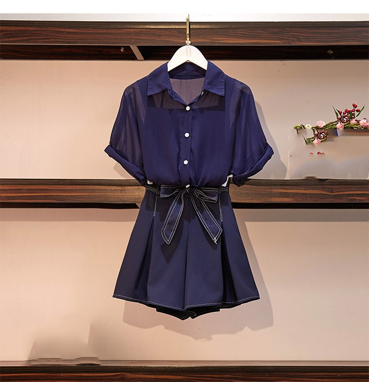 2019 Summer Women Navy Three Piece Set Casual Tops   Shorts Office Lady Suit Short Solid Work 3 Piece Set