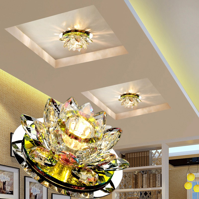 LAIMAIK Crystal LED Ceiling Light 3W AC90-260V Modern LED Crystal Lamp Aisle Light Lamp Hall Lighting Pumpkin Lotus Lights