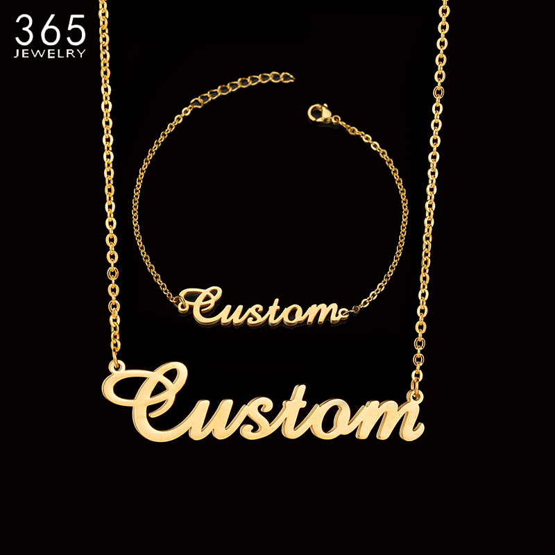 Fashion Stainless Steel Personalized Custom Name Neckalce For Women Men Handmade Customized Cursive Font Chain Jewelry