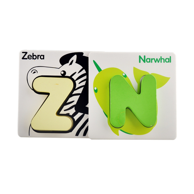 Children Alphabet Letters Puzzle Card Learning Education Wooden Classic Kids Baby Math Educational Toys for Girls Boys Card Book 2