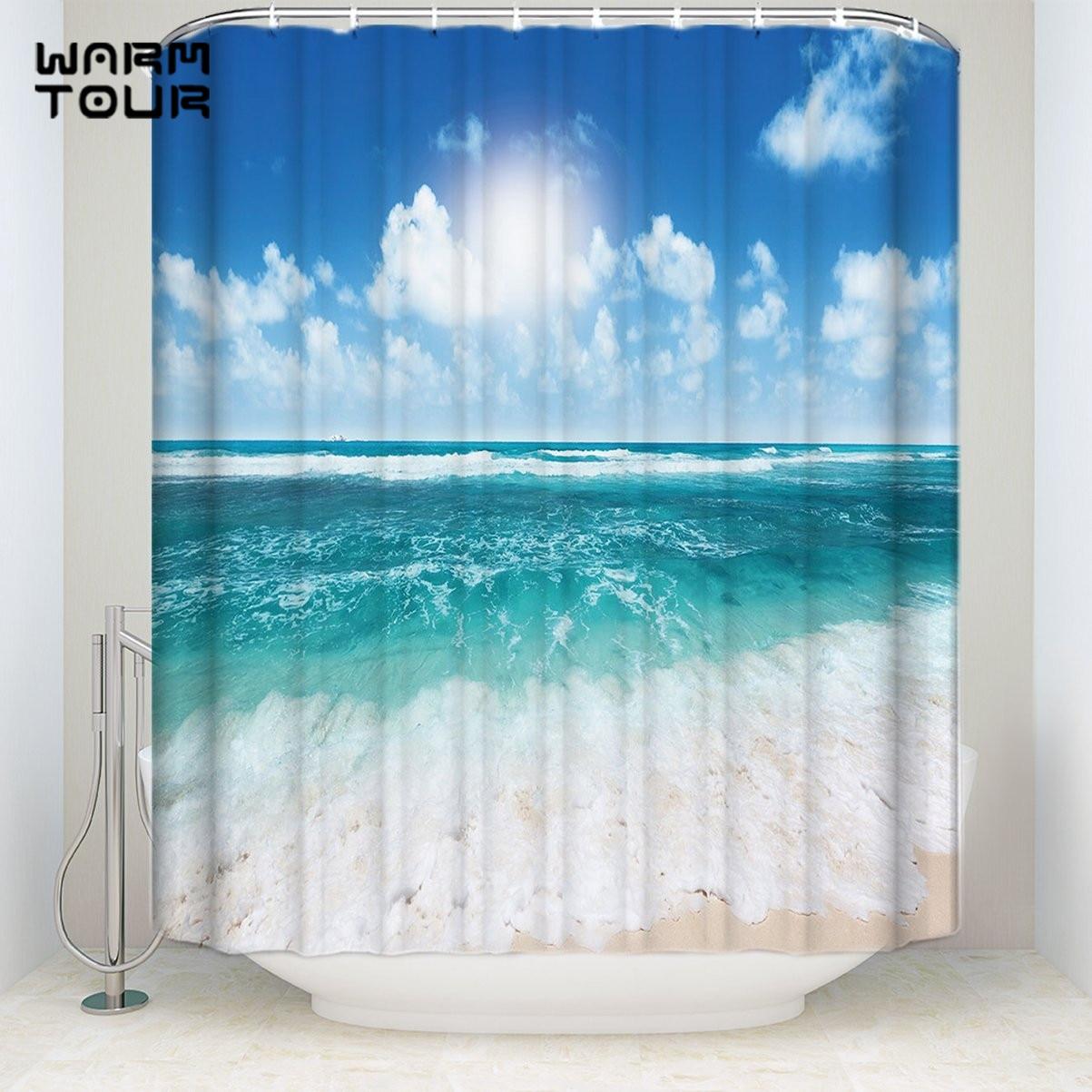 Blue Sky Sea Beach Waterproof Fabric Shower Curtain Set w// Hooks Bathroom Rug