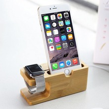 Vogue Safety Charging Holder Stand Bamboo Wood Base Bracket Docking Mount for Apple Watch iPhone 6/6Plus/6s/6s Plus