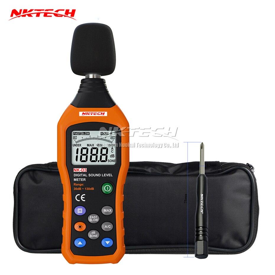 NKTECH NK-D3 цифровой уровень шума Шум метр Регистратор Тестер аудио децибел монитор 30-130dB точность 1.5dB быстрая/медленный выбор