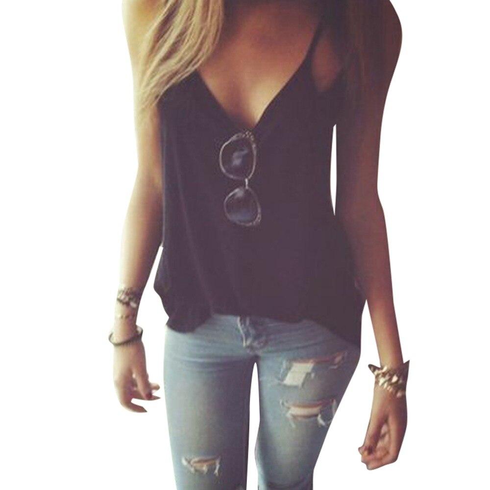 986075953a Casual Strap Tank Top Black Grey Sexy Summer Women V Neck Vest Tops  Sleeveless