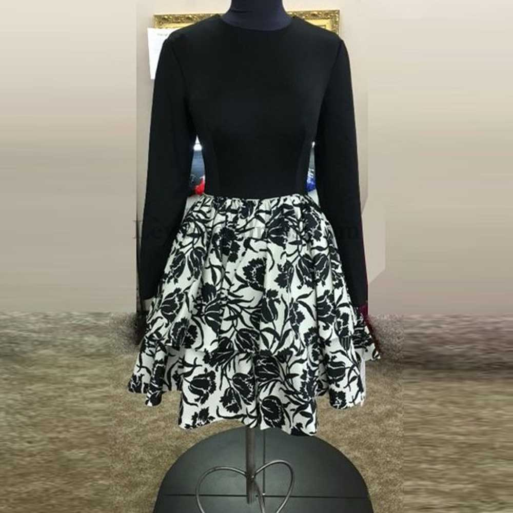 2018 New Fashion Jewel Collar Long Sleeves Spandex Black Floral Printed Short A Line   Cocktail     Dresses   Party
