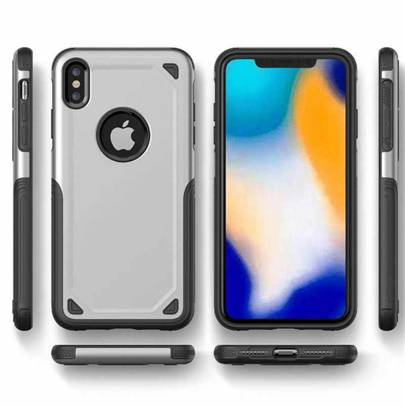Armadura militar de camuflaje antichoque resistente para iPhone X XR XS MAX PC + funda de silicona TPU para iPhone 5 5S SE 6 6 S 7 7 Plus