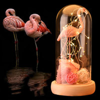 Pink Flamingo Rose Eternal Flower With LED Light Great Wedding Decoration Gift for Christmas Valentines New Year