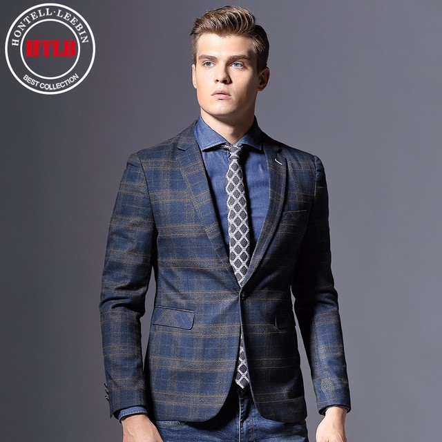 c88425f0b90e HTLB New Brand England Fashion Men Checked Blazer Suit Jackets Masculin Slim  Fit Male Casual Blaser Italy Wedding Business Suits