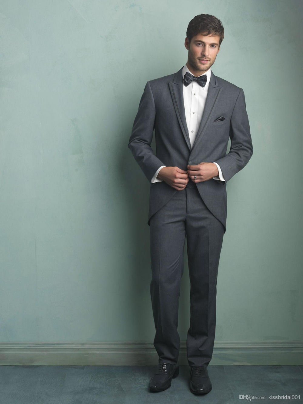 Custom Made Grey Groom Tuxedos Notch Lapel Best Man Groomsman Men ...