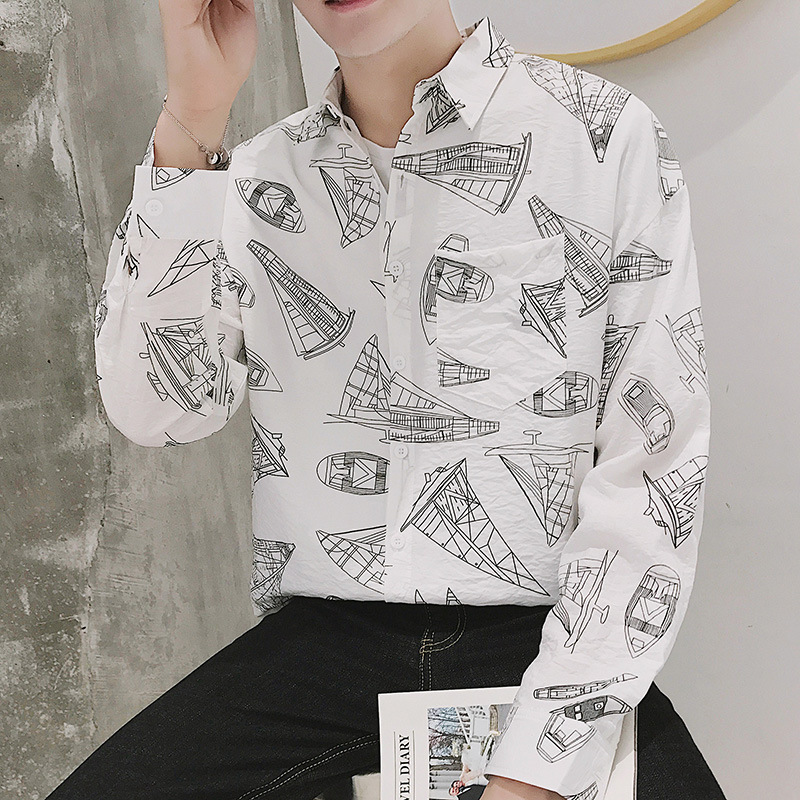 Shuyanly Autumn Fashion Men's Shirts Loose Long-sleeved Shirt Trend Printing Male Korean Version of The Long-sleeved Shirt(China)