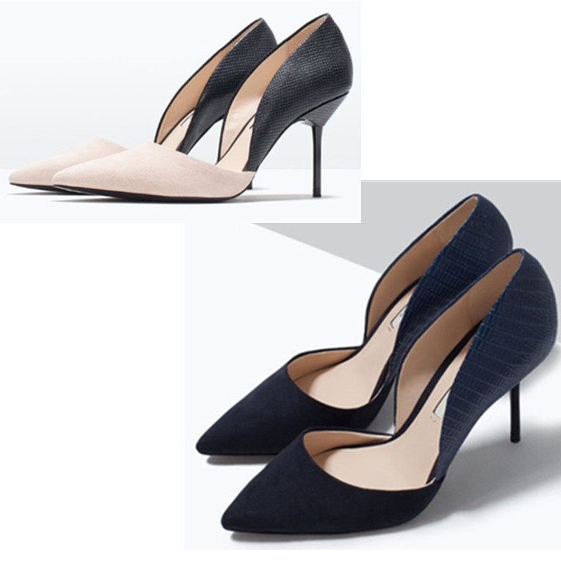 Two-Piece Women Shoes Pumps Plus Size 2017 Spring Thin Heels Shoes,Summer Sandals Pointed Elegant Ladies Blue Nude