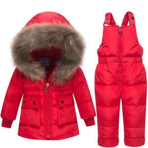 Image 5 - Baby Verdikte Warm Wit Duck Down Set Zuigelingen Russische Winter Outdoor Grote Bontkraag Skipakken Kids Hooded Winddicht sets