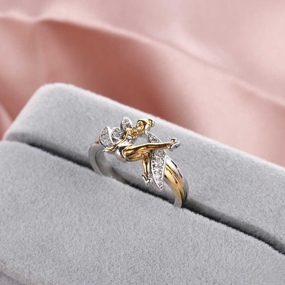 Fantasía flor lindo Hada anillos elfo Ángel cúbico Zirconia alas chapado en oro dos tonos mujeres anillo de boda joyería de regalo