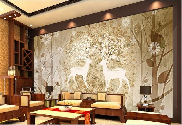 Customize 3d Wallpaper Walls Elk Forest Abstract Wall Murals Paper Photo Vintage