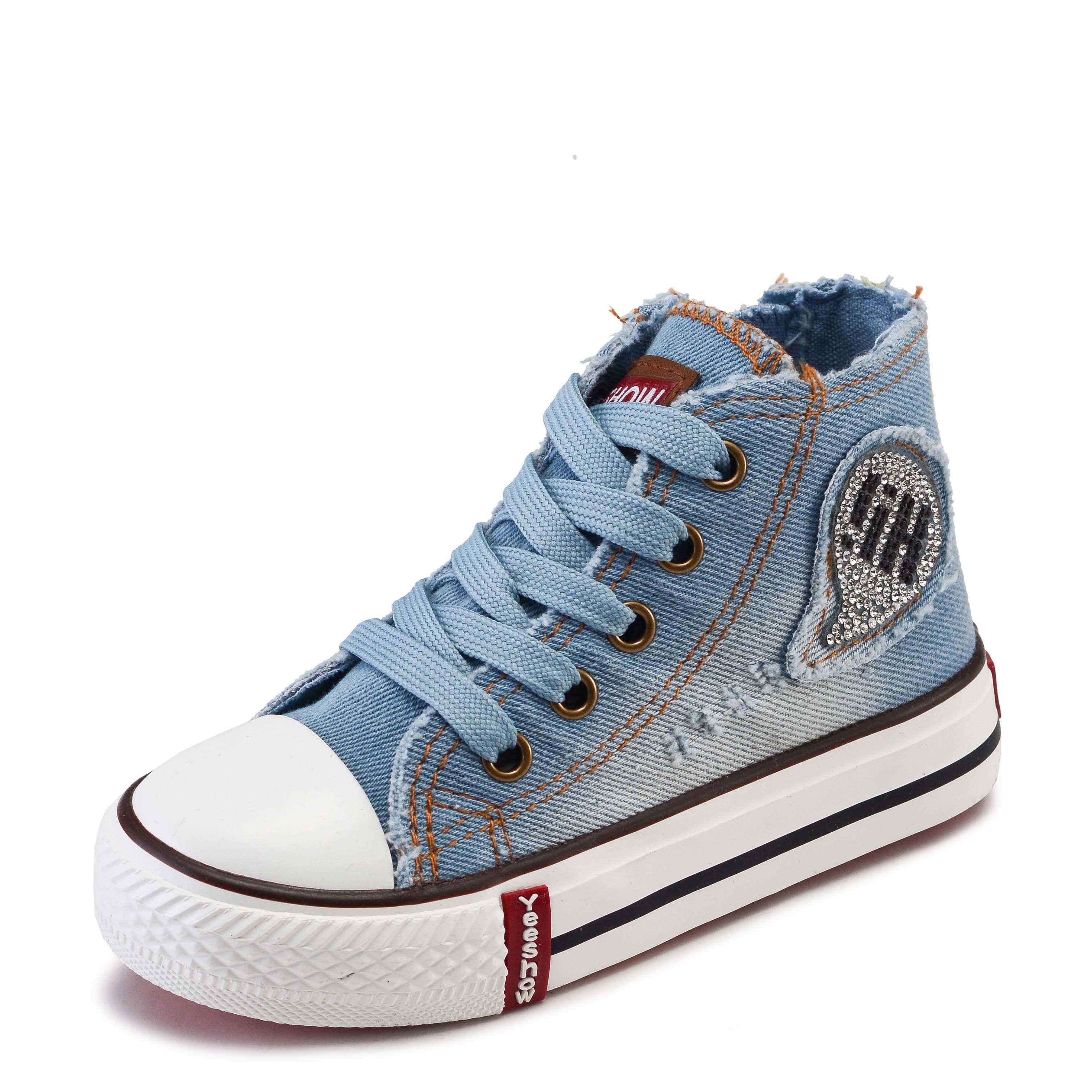 أطفال أحذية بنين بنات أحذية 2017 الخريف أزياء الأطفال عارضة الأحذية مع الجانب البريدي مريحة عالية أعلى حذاء قماش الأحذية