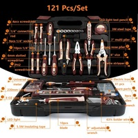 121pcs Repair Tools Household Tool Set Kitchen Tool Kit Pliers Screwdrivers Wrenches Hammer Knife Electric Iron Universal Key