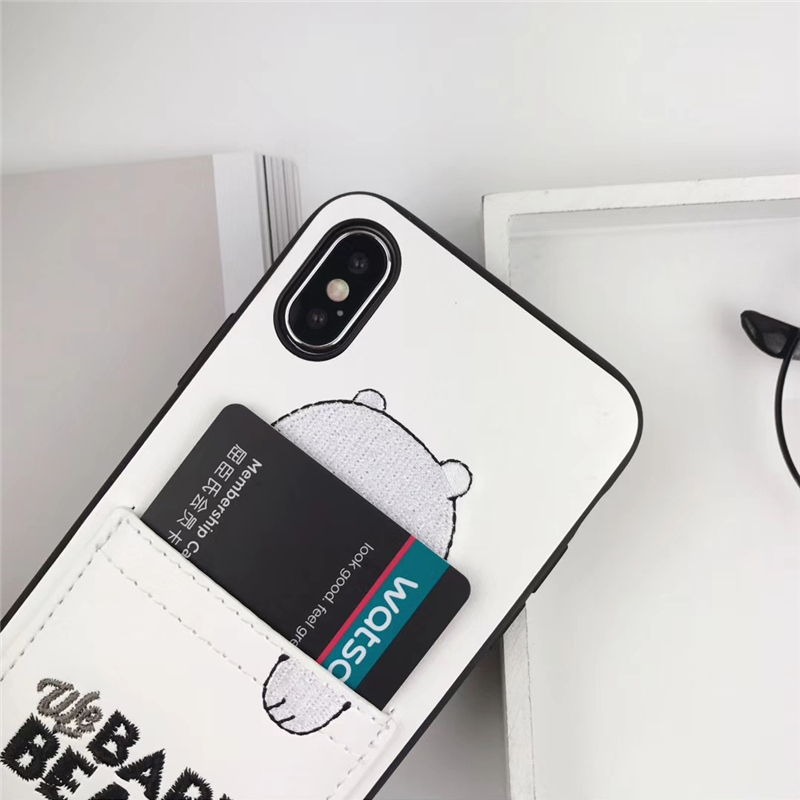 RMJ DNA luxury Pu Leather Cartoon Bear Phone Case for IPhone 7 6s 8 8plus x 6splus Soft Tpu Cover With Card Pocket Gags Fundas in Fitted Cases from Cellphones Telecommunications