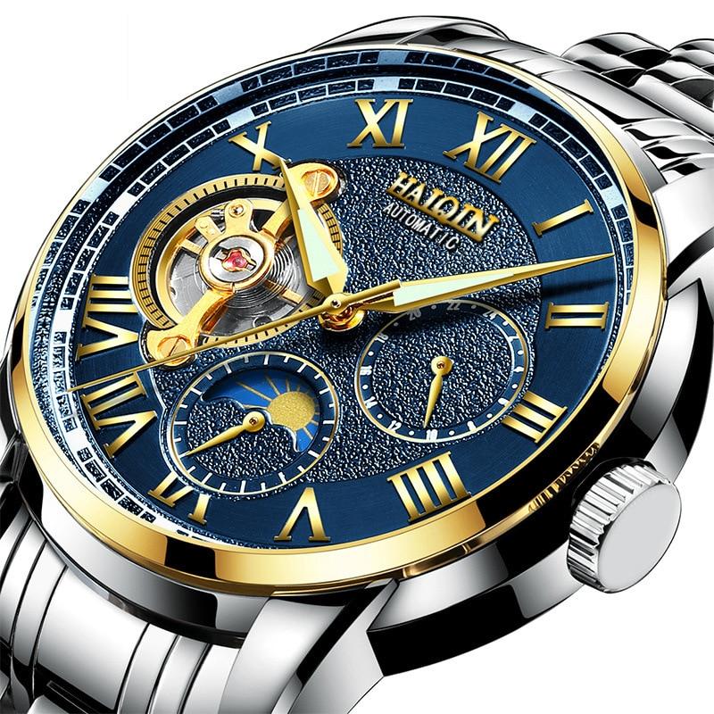 где купить HAIQIN top brand mens wristwatches automatic mechanical luxury man watches waterproof moon phase Tourbillon business male clocks по лучшей цене