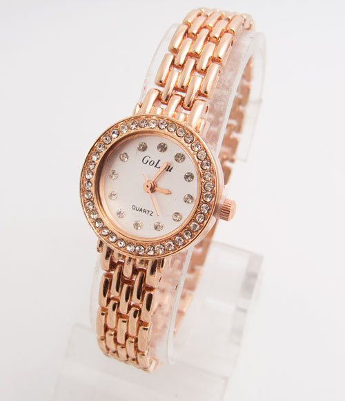 Luxury Rose Gold Bracelet Watch Women Ladies Crystal Dress Quartz Wristwatches R