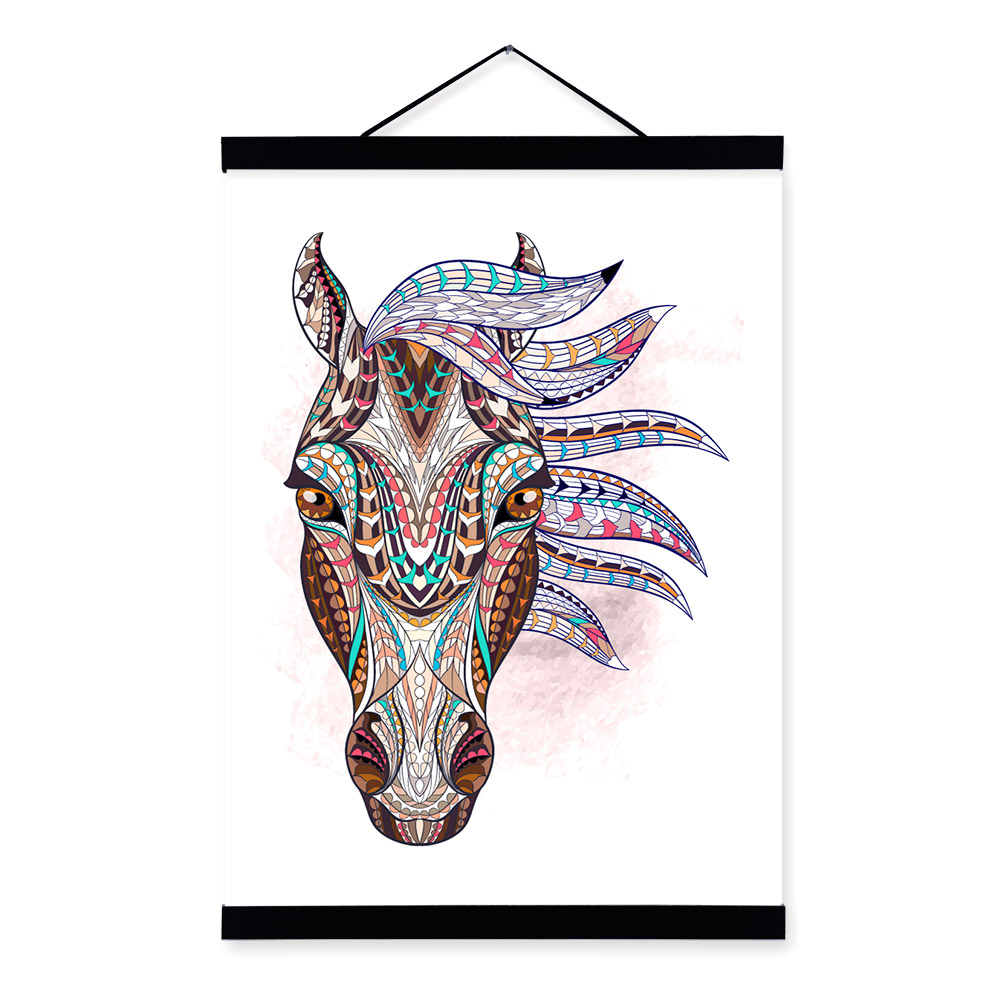 Modern Ancient <font><b>African</b></font> National Totem Animals Horse Face A4 Framed Canvas Painting Wall Art Prints Picture Poster Bar <font><b>Home</b></font> <font><b>Decor</b></font>
