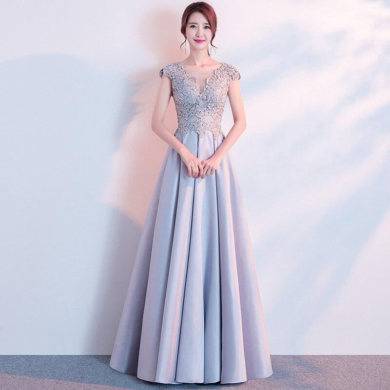 Elegant Women Full Length Cheongsam GRAY Asian Bridesmaid Wedding Party Dress Slim Vestidos Sexy Backless Evening
