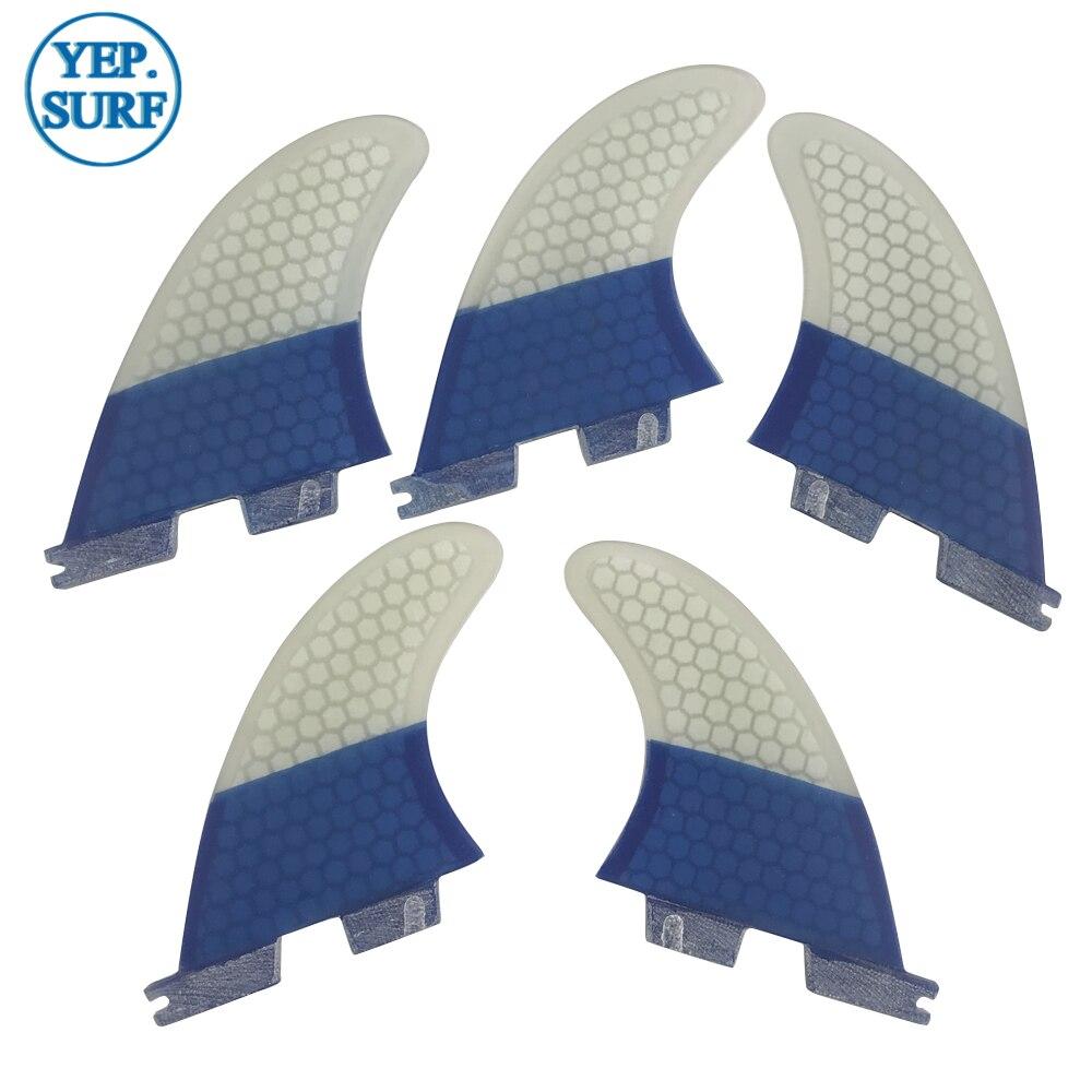 Aletas de tabla de Surf FCS2 K2.1 aletas tri-quad Surf FCSII color azul y blanco Quilhas aletas de panal