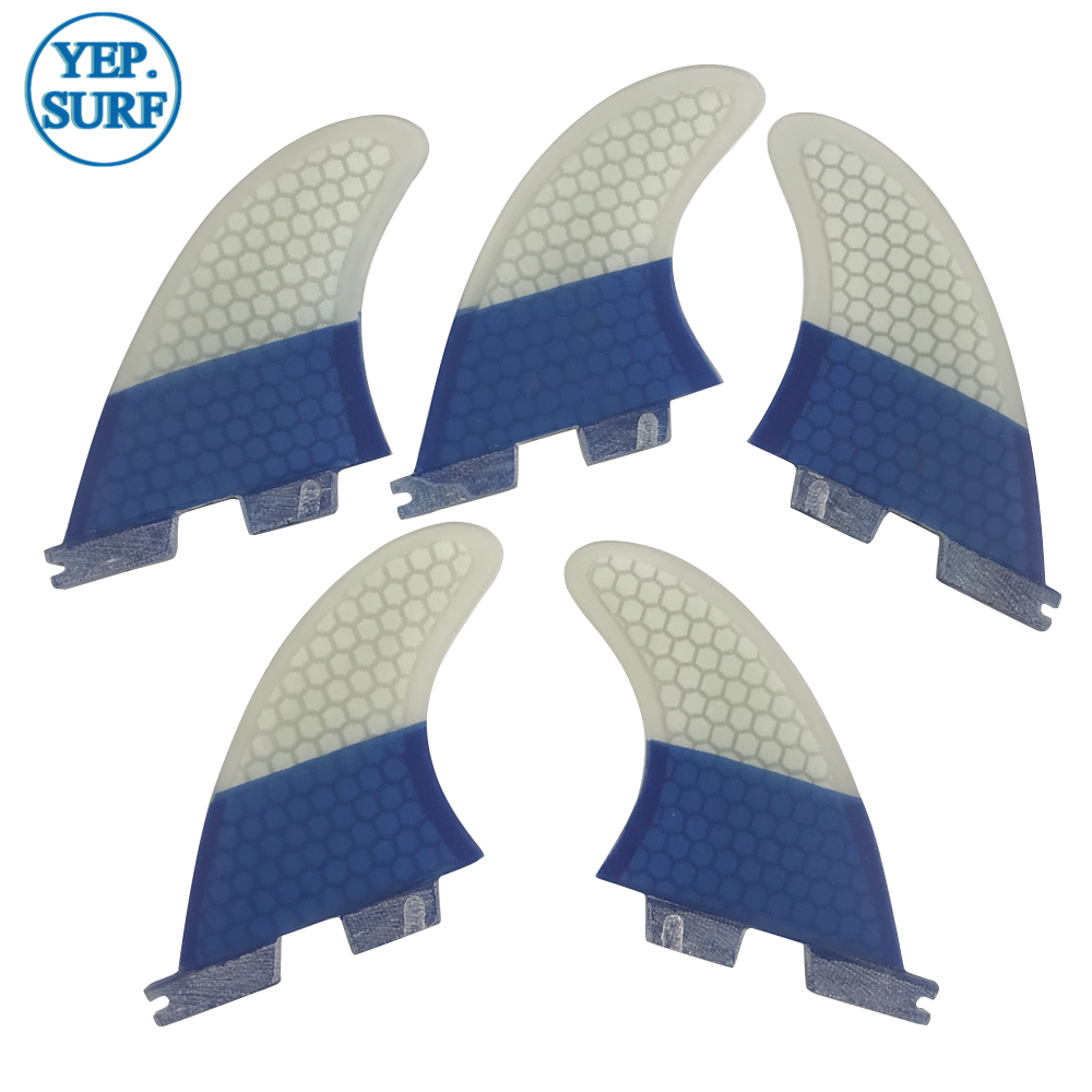 Surfboard Fins FCS2 K2.1 FINS Tri-quad Fins Surf FCSII Blue And White Color Quilhas Honeycomb Fins