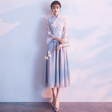 Bridesmaid-Dress Female Summer Gray New Long Fairy Temperament Chinese-Style Retro Middle
