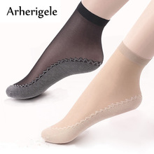 Arherigele 5pair Summer Woman Socks Elastic Short Wear-Resistant Bottom Pustende Female Ankle Sock Transparent Tynn Lady Socks