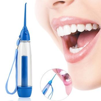 Przenośna nić dentystyczna pielęgnacja jamy ustnej wdrożenie Flosser irygator wodny nawadnianie strumień wody pod ciśnieniem irygator dentystyczny Flosser czyszczenia zębów higiena jamy ustnej tanie i dobre opinie ICOCO CN (pochodzenie) Kran irygator ustnej Dorosłych Oral Irrigator Oral nawadniania Akumulator Blue ABS+silica gel 25x3 5cm(Height*Diameter)