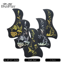 "Acoustic Guitar Pickguard Bird Style DIY Self-adhesive Celluloid Pick Guard for 40"" 41"" Folk Guitar Black Guitarra Pickguards(China)"