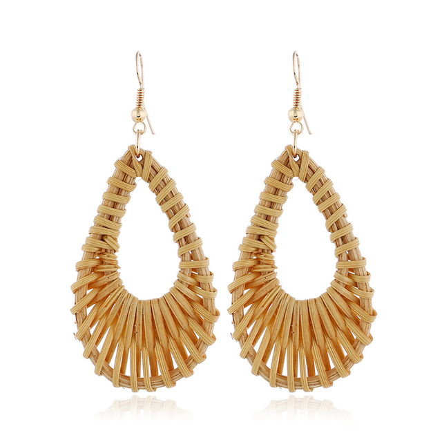 Bamboo Wooden Straw Weave Rattan Earrings
