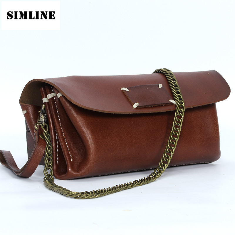 Brand Vintage Genuine Leather Cowhide Women Female Small Tote Chain Handbag Handbags Shoulder Crossbody Clutch Bag Bags Ladies