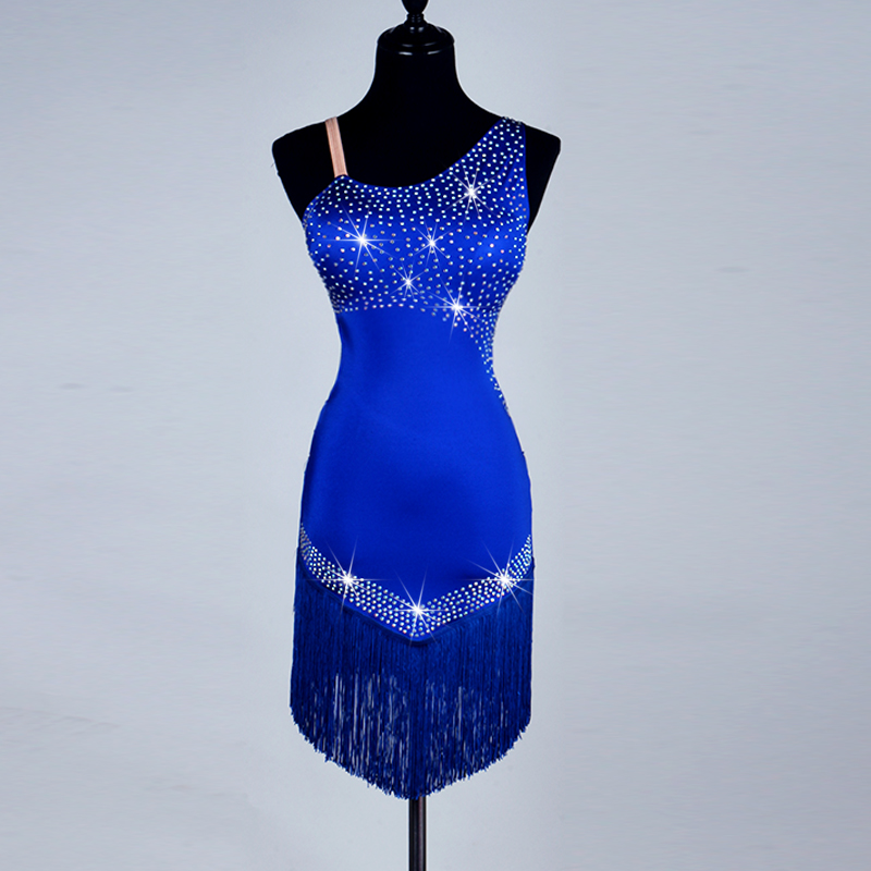 2017 New hanging diamond Latin Rumba Cha Cha Dance Dress Formal Competition Clothing Adult Stage Performance Costumes Royal blue
