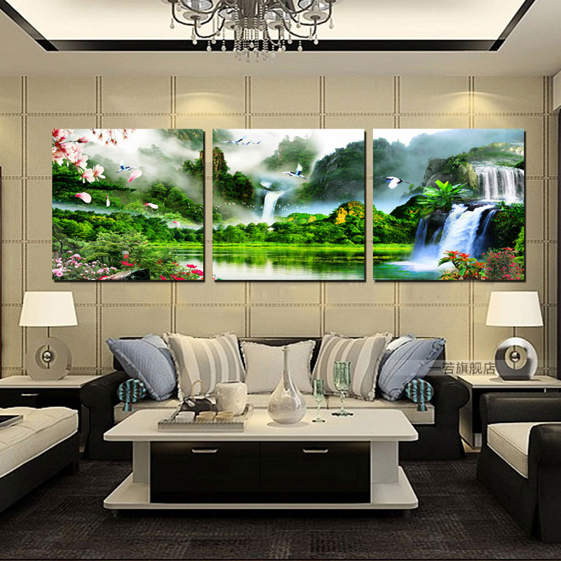 No Frame 3 Pieces Modern Landscape Mountain Print Oil Painting Picture Cuadros Wall Art Canvas Painting for Living Room HY15